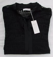 Ladies Marks and Spencer per Una Black Lace 2 Part Set With Tie Neck Size 20