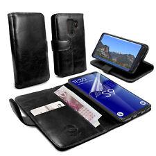 TUFF-LUV CUIR AUTHENTIQUE Folio Porte-feuille étui et Stand pour Galaxy S9