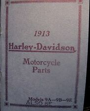 1913 Harley-Davidson Motorcycle Parts Manual for Mdl's 9A--9B--9E-- Also 8E FSH