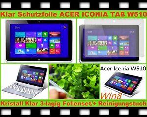 "2x Ultra Klar Kristall Clear Display Schutz Folie f. Acer Iconia W510 Tab 10,1"""
