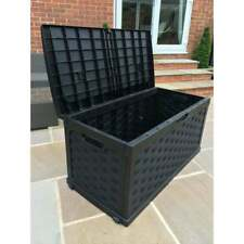 More details for starplast rattan style black garden storage box patio with sit on lid plastic