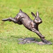 Running Bunny Rabbit Garden Sculpture Bronze Finish Metal Outdoor Statue  9.5''H