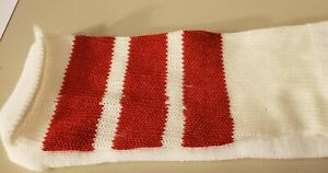 """1 Pair White tube socks with 3 Red Stripes-Approx.28-30""""-Made in USA ACRYLIC"""