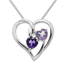 Sterling Silver 5.0mm Heart-Shaped Rose de France Purple Amethyst Heart Pendant
