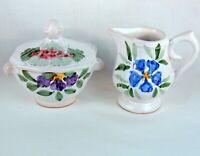 Fortebraccio Ceramiche Italy Floral Ceramic Creamer And Lidded Sugar Bowl EUC