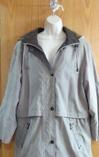 Liz Claiborne Winter Coat Jacket Beige With Brown Plaid Lining SZ 1X Hood Womans