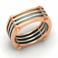 8 mm Two Tone Men's Wedding Band / Ring In Solid 10k Rose Gold - Free Shipping
