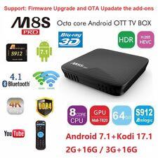 M8S Pro Android 7.1 4K DDR4 2G+16G TV Box S912 Octa-Core 2.4G/5G WIFI Free Movie
