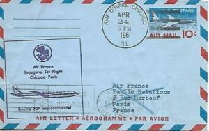 First Jet Airmail Flight Chicago AMF - Paris April 24 1960 AAMC#J515f