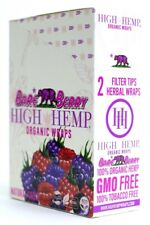 High Hemp Bare Berry Organic Wraps Full Box 25 (2 Wrap) Pouch (50 Wraps) NON GMO