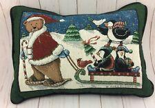 Christmas Throw Pillow Coco Dowley Santa Bear Pulling Sled w/ Penguins Kohl's