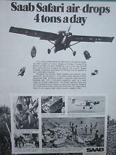 3/1975 PUB SAAB AEROSPACE AVION SAFARI ETHIOPIA AIRLIFT OPERATION ORIGINAL AD