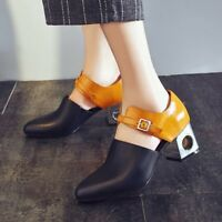 Women Spell color Leather Block Heel Pump Gothic Pointy Toe Ankle Straps Shoes