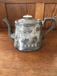 Vintage Ornate Pewter Teapot