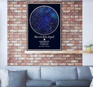 Star Map Art Print.Personalised Gift Mother's Day Wedding Engagement Birthday