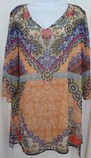 V CHRISTINA  NWT TUNIC TOP MULTI/FLORAL LINED V-NECK W/SILVER BEADS XL