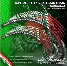 Set Adesivi Cerchi Moto Ruote DUCATI MULTISTRADA 950 Bandiera Tricolore Italia