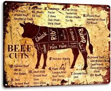 Beef Cuts Cow Cattle Kitchen Butcher Farm Ranch Rustic Metal Decor