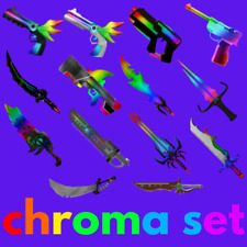 FULL CHROMA SET 15 WEAPON Roblox MM2 Murder Mystery Godly Gun Knife Collectible