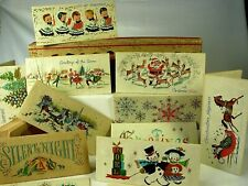 Antique SC?N PRIN Boxed Parchment Christmas Cards -1930s Spectacular Work of Art