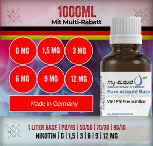 Liquid Base - 1 Liter Nikotin Shots 70/30 VG/PG   Nikotin 0 3 6 9 12mg 18mg