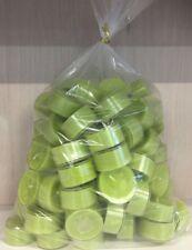 100 x dänische Teelichter gras-grün im Acrylcup ca 4 Stunden Brenndauer Gastro