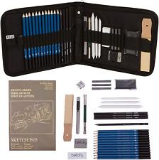 Professional Drawing Kit Artist Drawing Supplies Kit | 33-Piece Sketch Kit Pro