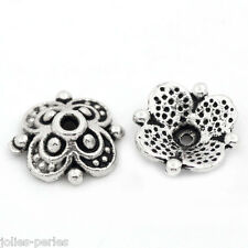 "100PCs Bead End Caps Findings Four Flower Silver Tone 10mmx10mm(3/8""x3/8"")"