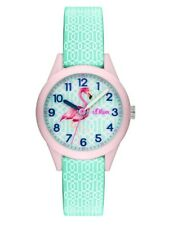 s.Oliver Kinder Silikon Flamingo Armbanduhr SO-3514-PQ Neu