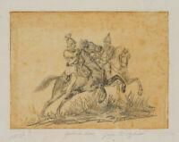 Zwei Kürassiere des Gardes du Corps zu Pferd, um 1850, Bleistift