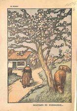 Printemps Normandie Cerisier en Fleurs Ferme Fermière Vaches 1935 ILLUSTRATION