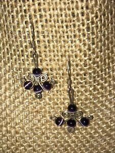 Amethyst Beaded Scrolled Silver Dainty Earrings