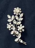 Superbe Broche Vintage Ancienne Bouquet De Fleurs  Strass Costume Jewelry