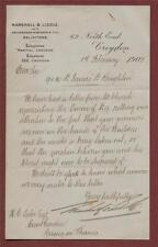 Brighton Property Letter 1908 Marshall Lyddle, Mr. Lake Goring on Thames. y.71