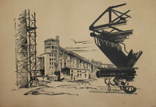 Vintage ink drawing factory