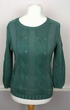 BODEN Ladies Green Cable Knit Jumper Size 10 UK