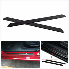 2 Pcs Black Real Carbon Fiber Car Scuff Plate Door Protector Guards Sticker 49cm