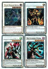 4 Synchro YuGiOh Cards Reptilianne Hydra Moon Dragon Quilla Fabled Ragin,Warrior