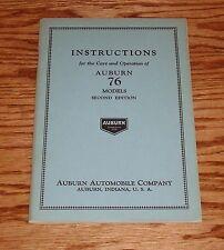 1920? Auburn 76 Models 2nd Edition Instructions Owners Operators Manual 20