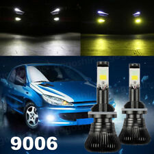 2x 9006 HB4 80W LED Fog Light Bulb 9600LM Dual Color White Yellow 6000K 3000K