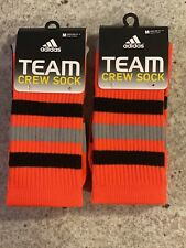 Adidas Team crew Socks medium (size 6.5-9). Orange 2 Pair