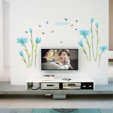 Blue Flowers Butterfly Room Home Decor Removable Wall Sticker Decal Decoration