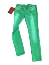 NWT ZU+ELEMENTS Ashlee Summer Denim Green Jeans Slim Fit Made In Italy Sz 28