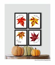 Thanksgiving Decor Wall Art Prints set of 4 Fall Leaves Thanksgiving quotes