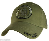 ARMY RETIRED OD EMBROIDERED MILITARY HAT CAP