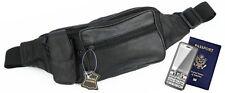 Black Genuine Leather Fanny Pack Phone Waist Hip Bag Travel Adjustable Belt Sac