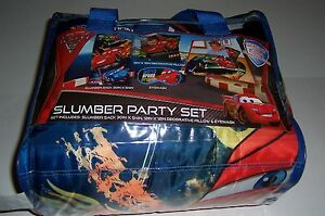 DISNEY CARS 2 SLUMBER PARTY SET SLUMBER SACK, PILLOW, & EYEMASK BRAND NEW!