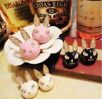 E288 BETSEY JOHNSON Easter Bunny Rabbit Available in Pink White Black Earrings