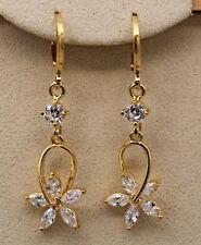 18K Yellow Gold Filled - Hollow Moving Flower Topaz Hoop Dangle Women Earrings