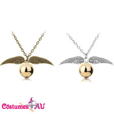 Harry Quidditch Wings Golden Snitch Pendant Necklace Gold Silver Wing